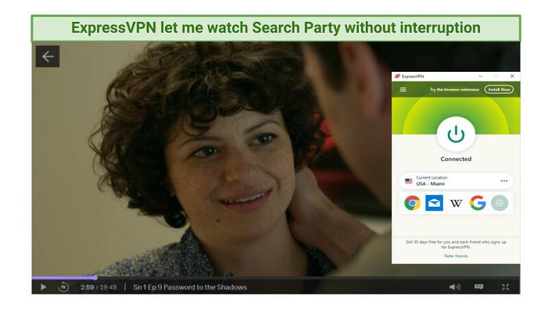Screenshot of Search Party streaming on HBO Max while connected to ExpressVPN's Miami server