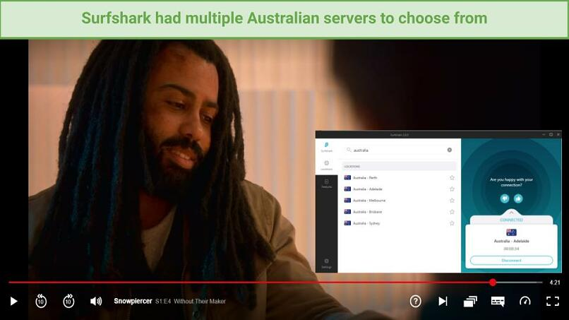 Image of Snowpiercer streaming on Netflix using Surfshark's Adelaide server