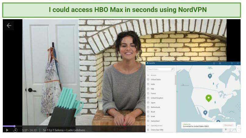 Graphic showing Selena + Chef streaming on HBO Max with NordVPN