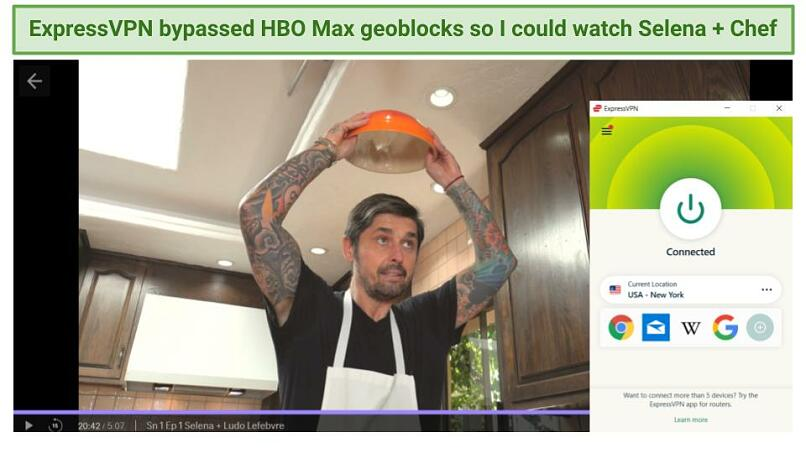 Graphic showing Selena + Chef streaming on HBO Max using ExpressVPN's US server