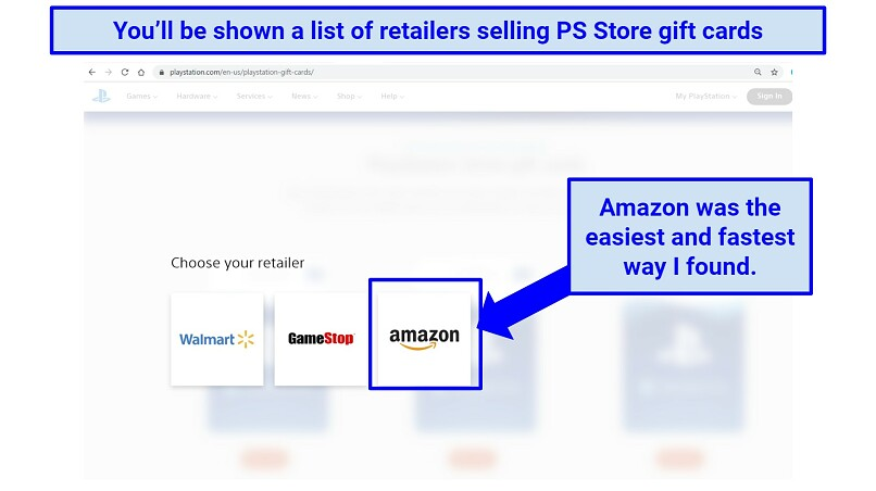 Screenshot showing available retailers for PlayStation Store gift card purchases