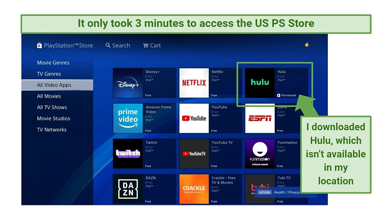 Screenshot showing the US PlayStation Store is unblocked after creating a new PSN account.