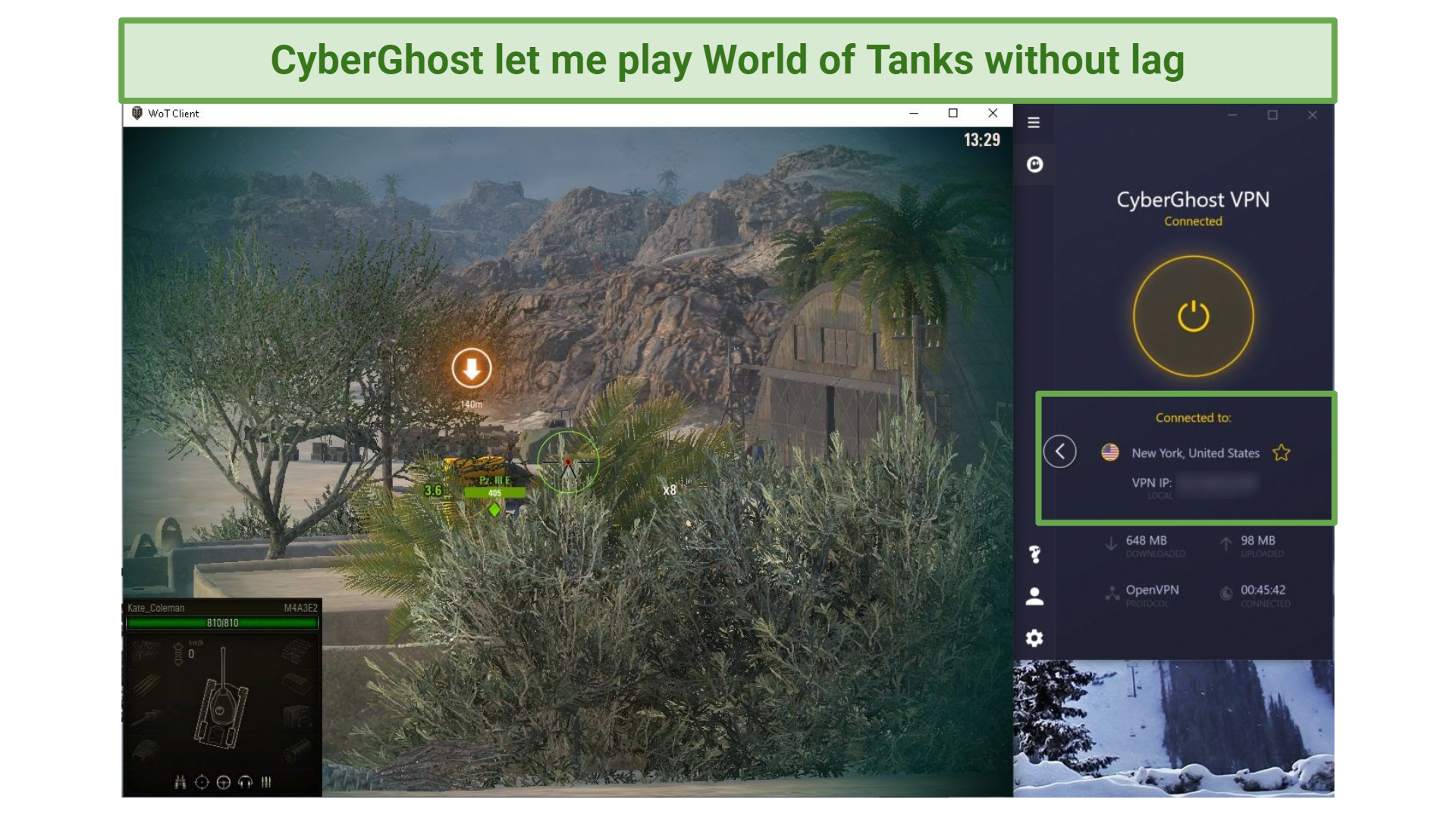 A screenshot of playing World of Tanks while connected to CyberGhost.