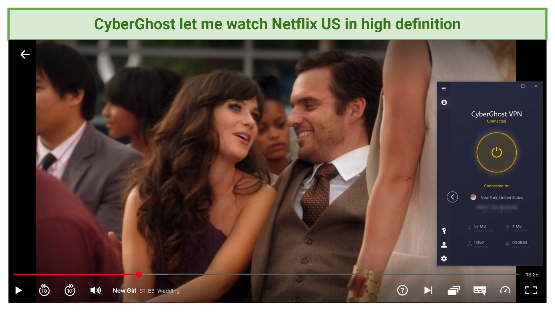 A screenshot of CyberGhost unblocking New Girl on Netflix US.