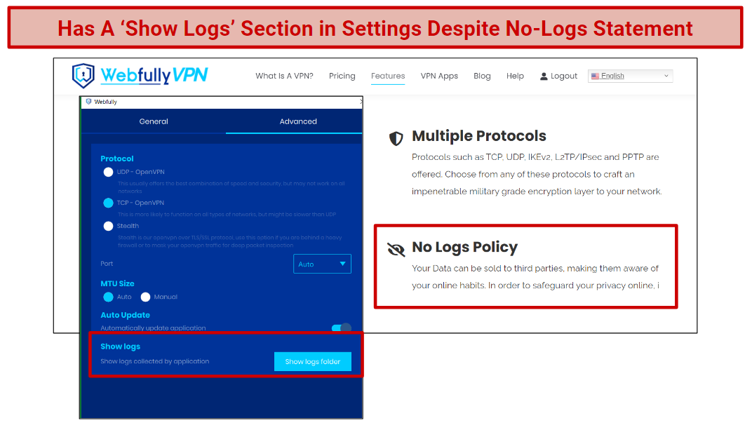 A screenshot of Webfully's settings section in the app, showing the Show Logs area.