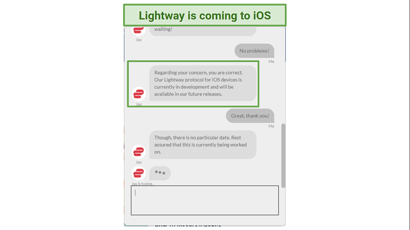 A screenshot of ExpressVPN's customer service confirming that Lightway will soon be on iOS.