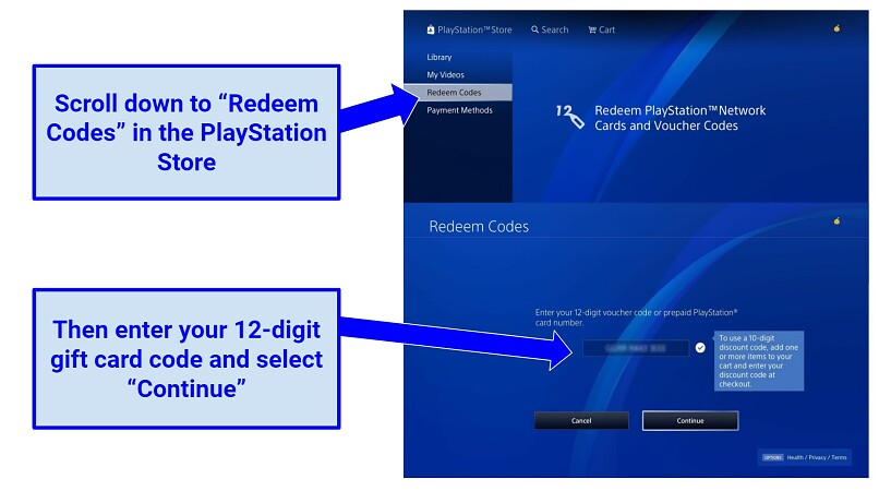 Screenshot showing how to redeem your PS gift card in the console.