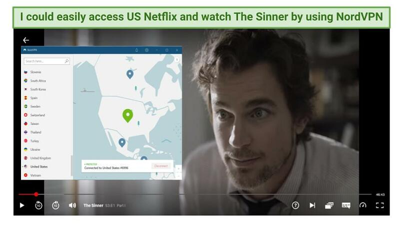 Graphic showing The Sinner streaming on Netflix US with NordVPN