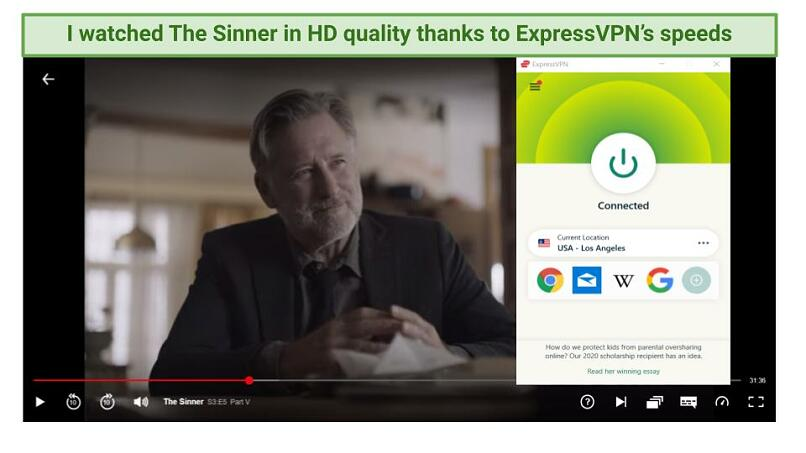 Graphic showing The Sinner streaming on Netflix using ExpressVPN