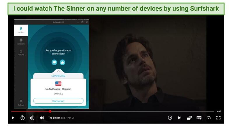 Graphic of The Sinner streaming on Netflix using Surfshark's US servers