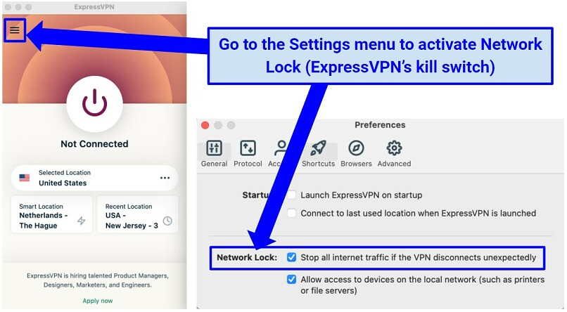 Screenshot showing how to activate ExpressVPN kill switch on macOS.