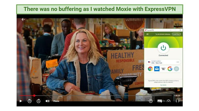 Screenshot showing Moxie being watched on Netflix while connected to ExpressVPN's New York server