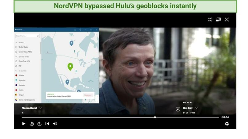 Screenshot showing Nomadland being watched on Hulu while connected to NordVPN's US server