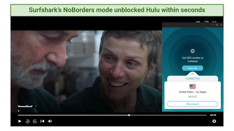 Graphic showing Nomadland streaming on Hulu using Surfshark