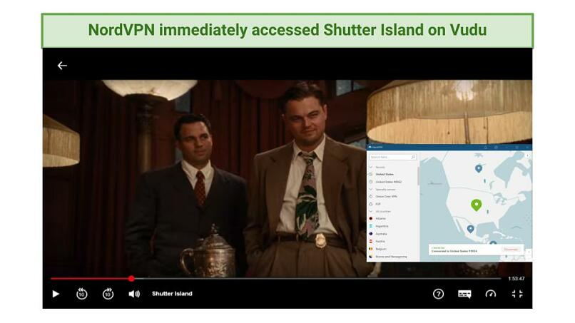 Screenshot of Shutter Island movie being streamed while connected to NordVPN's US server