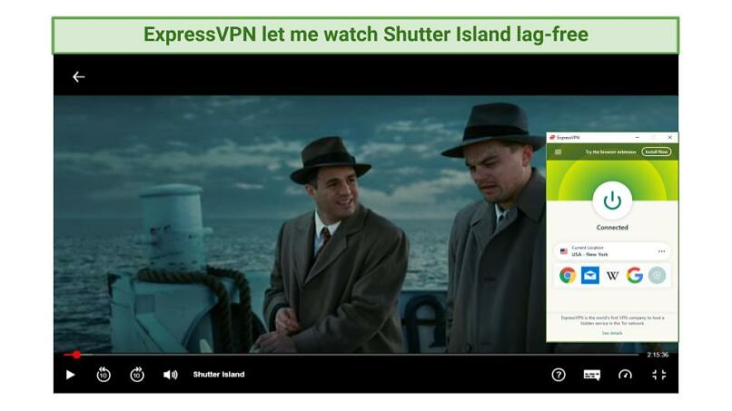Screenshot showing Shutter Island being watched while connected to ExpressVPN's New York server