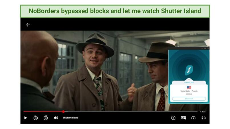 Screenshot showing Shutter Island being watched while connected to Surfshark's Phoenix server
