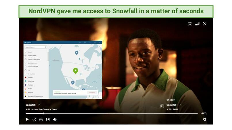 Screenshot showing Snowfall being streamed while connected to one of NordVPN's US server locations