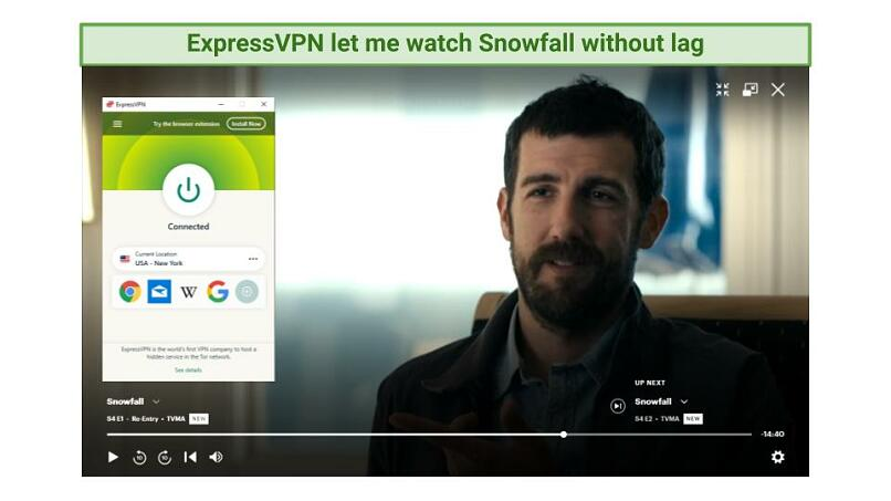 Screenshot showing Snowfall being watched on Hulu while connected to ExpressVPN's New York server