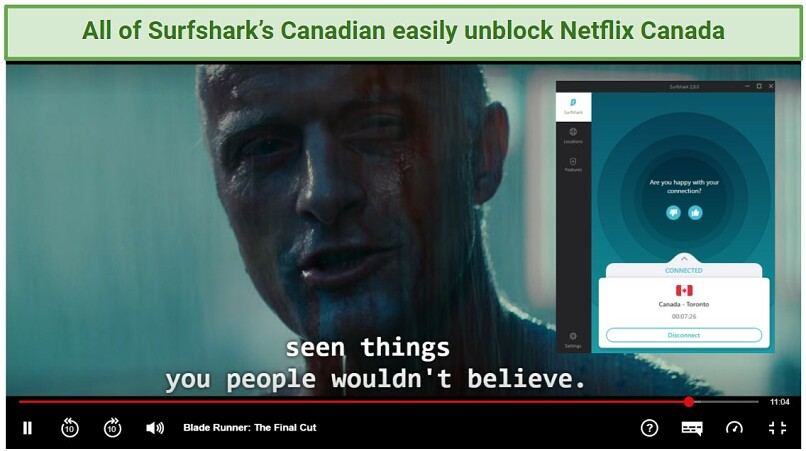 Image of Blade Runner playing on Netflix Canada while Surfshark is connected to one of its Canadian servers.