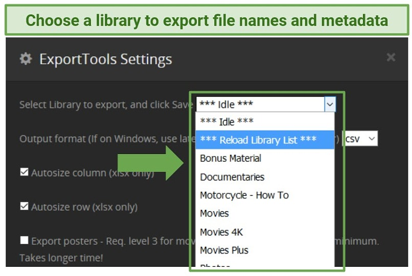 Screenshot showing the ExportTools interface and how to choose a library for exporting