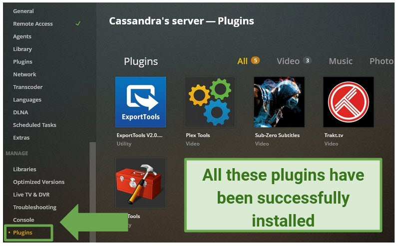 screenshot showing where to click to confirm Plex plugins have been successfully installed