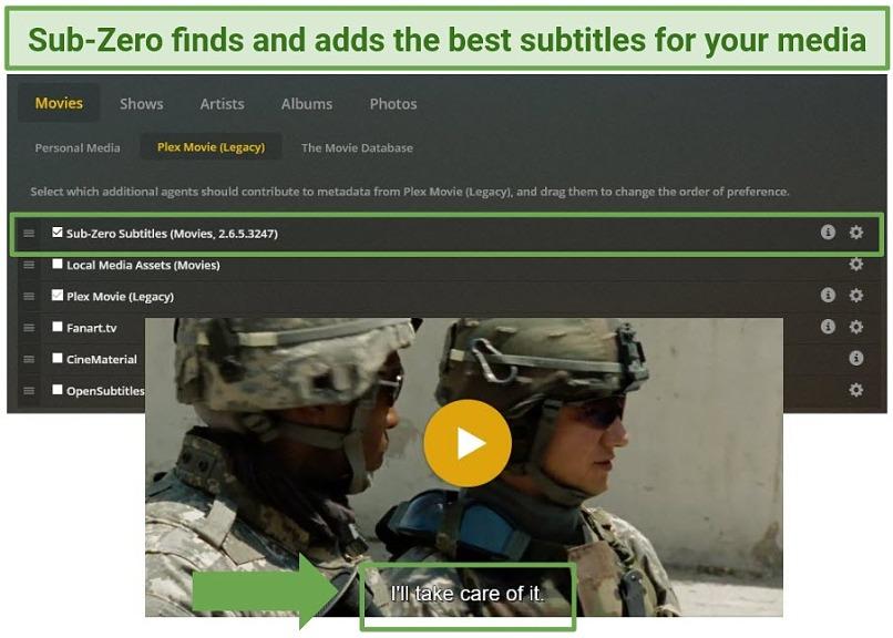A screenshot showing Sub-Zero providing subtitles for a movie