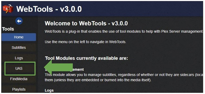 screenshot showing WebTools installed and indicating where to click to access the UAS