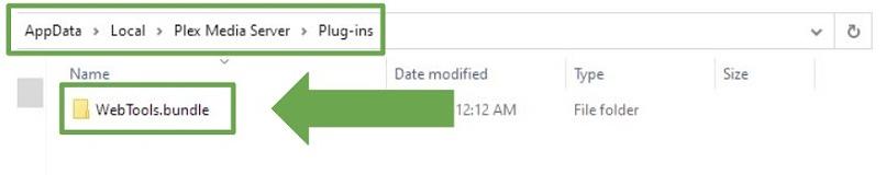 Screenshot showing the WebTools .bundle file added to the Plex plugins folder