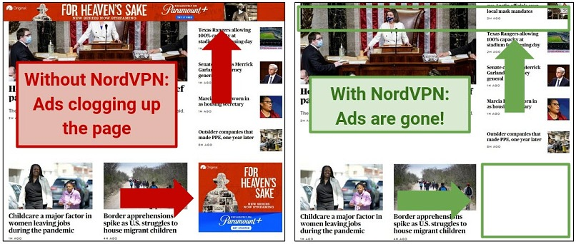 Screenshot demonstrating how NordVPN's CyberSec security suite blocks ads on a news site