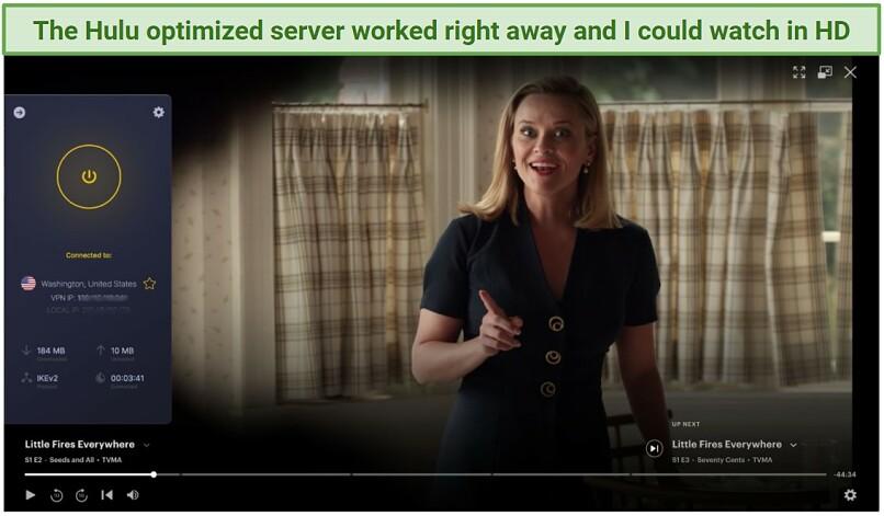 Screenshot showing CyberGhost Mac VPN unblocking Hulu.