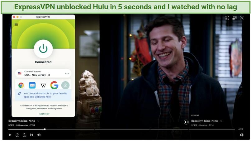 Screenshot showing ExpressVPN unblocking Hulu on macOS.