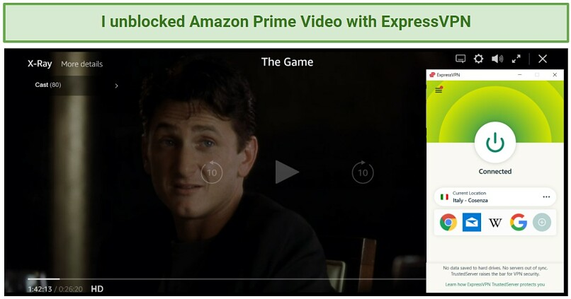 Screenshot showing The Game streaming on Amazon Prime Video after connecting to an ExpressVPN server in Italy