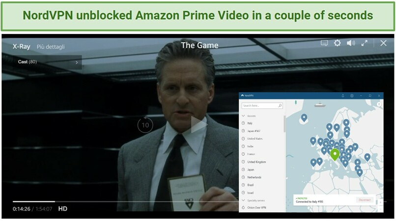 Screenshot showing The Game streaming on Amazon Prime Video after connecting to a NordVPN server in Italy