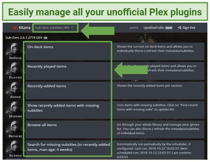 A screenshot of the Plex plugin Kitana's user interface.