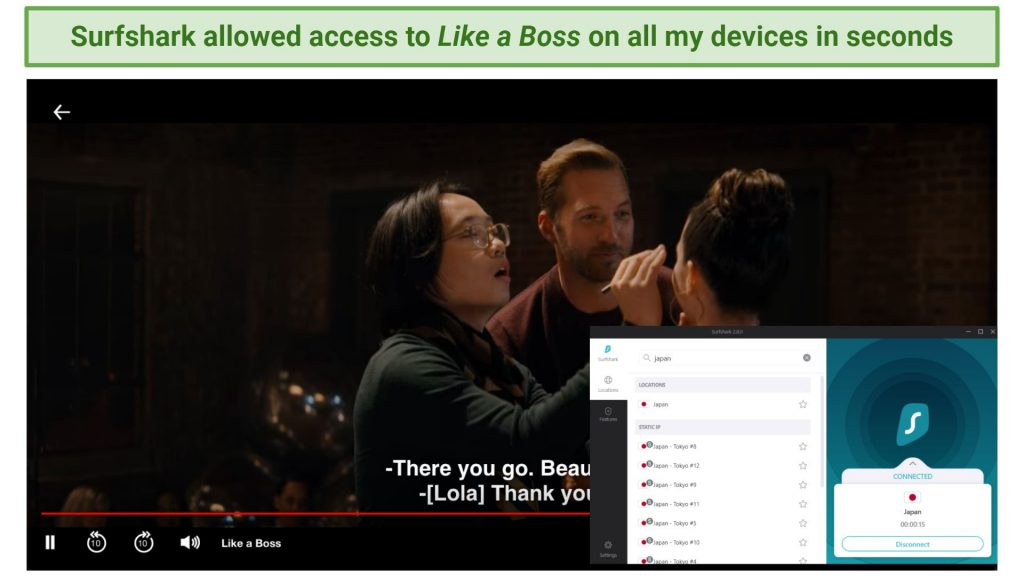 Screenshot showing Netflix streaming Like a Boss after connecting to a Surfshark server in Japan
