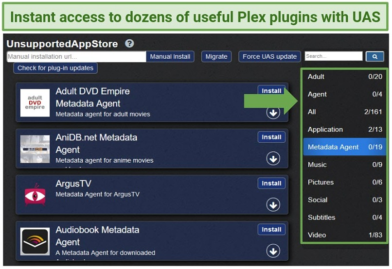 A screenshot of the Plex Unsupported App Store plugin found in WebTools.