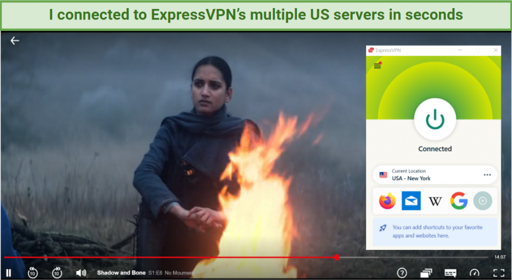 Graphic of Shadow and Bone streaming on Netflix using ExpressVPN's New York server