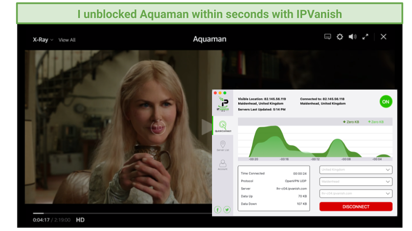 screenshot of Amazon Prime Video player streaming Aquaman unblocked by IPVanish