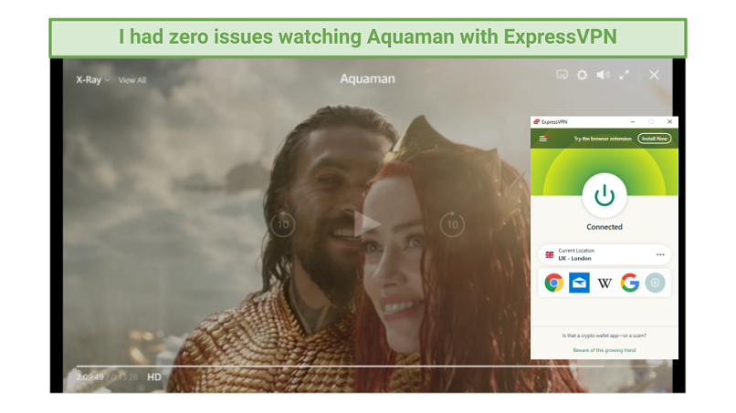 Image of Aquaman playing on Amazon Prime Video with ExpressVPN UI on right handside.