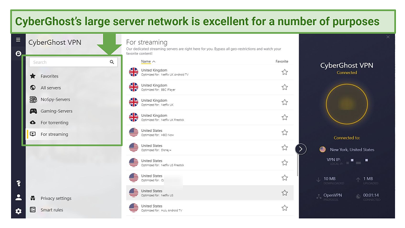 Graphic showing CyberGhost's server network