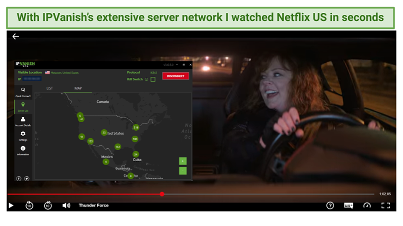 Graphic showing Thunder Force streaming on Netflix US using IPVanish's US servers