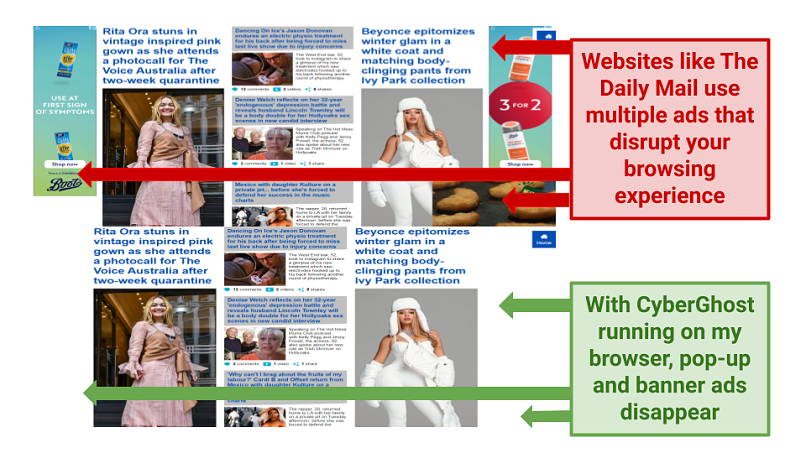 Graphic showing The Daily Mail with ads on the page and same page with CyberGhost blocking its ads