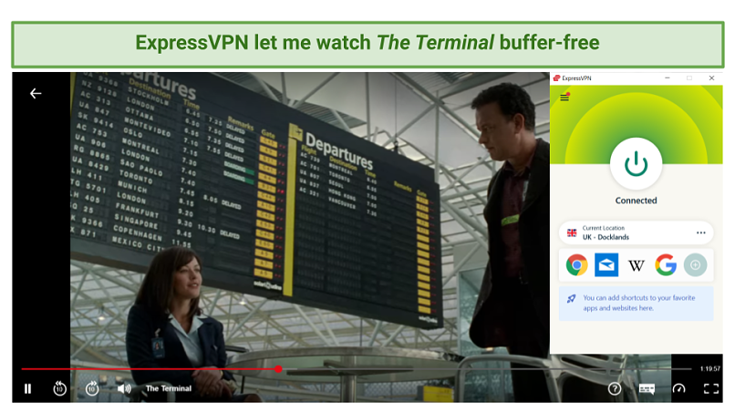 Screenshot showing Netflix streaming The Terminal after connecting to an ExpressVPN server in the UK