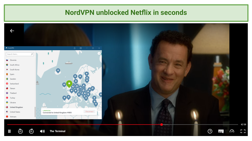 Screenshot showing Netflix streaming The Terminal after connecting to a NordVPN server in the UK