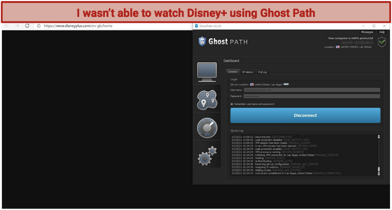 A screenshot showing how Ghost Path VPN can't unblock Disney+, with the Disney website showing as blank in the background.