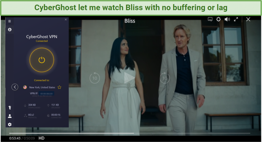 Screenshot of Bliss streaming on Amazon Prime Video using CyberGhost's US servers
