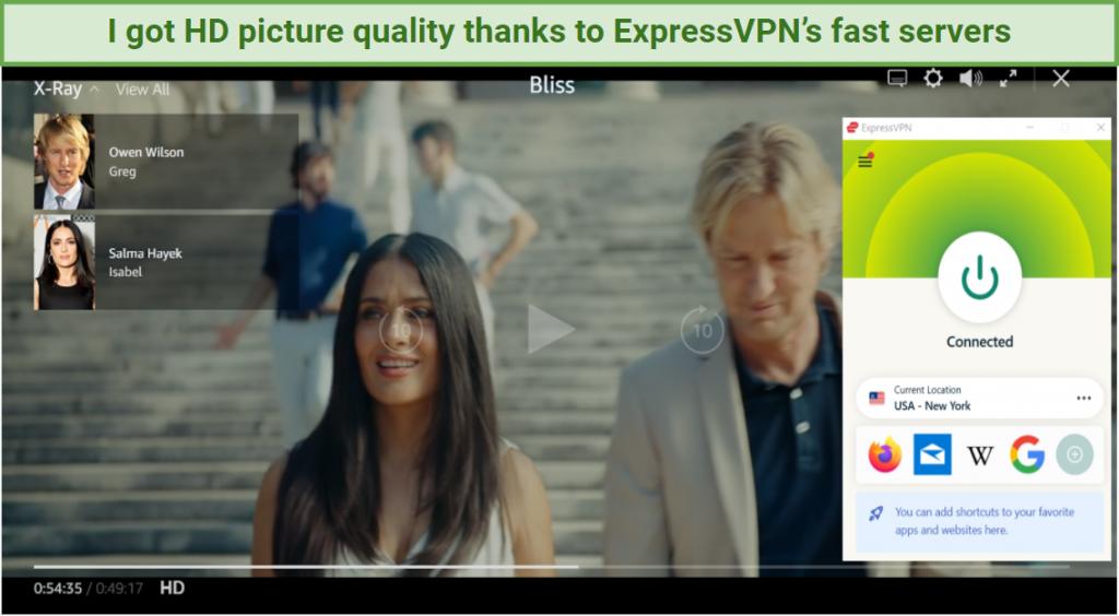 Screenshot of Bliss streaming on Amazon Prime Video using ExpressVPN's US servers