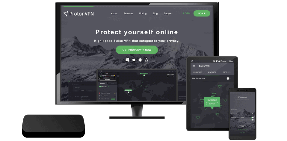 Small assortment of technological devices compatible with ProtonVPN.