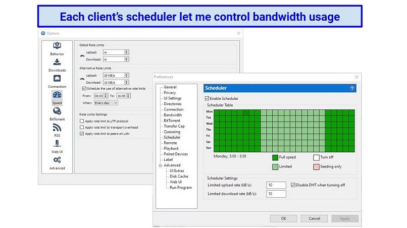 Screenshots showing the torrent scheduling options for qBittorrent and uTorrent